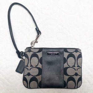 Coach Classic Logo Black Tan Wristlet Small Bag